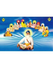 Baba Deep Singh Ji With Sikh Gurus  - SSW1057