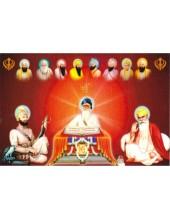 Baba Deep Singh Ji With Sikh Gurus  - SSW1058