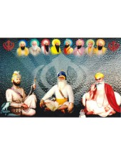Baba Deep Singh Ji With Sikh Gurus  - SSW1059
