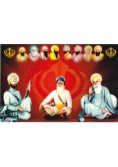 Baba Deep Singh Ji With Sikh Gurus  - SSW1063